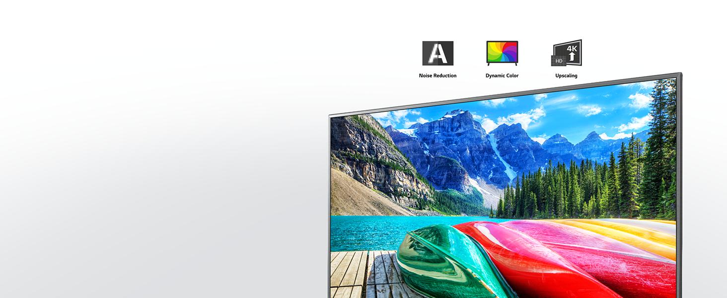 Das lcd panel der lg uhd tvs mit farbintensiven bildern vor einem hellen hintergrund