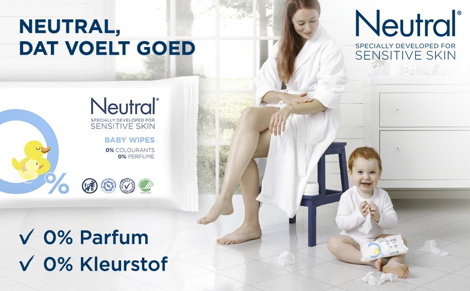 Neutral Baby Billendoekjes met 0% parfum en kleurstof speciaal ontwikkeld voor de gevoelige babyhuid