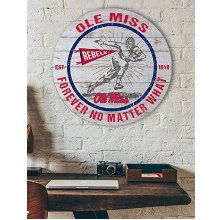 Mississippi Rebels Throwback Weathered Circle Wall Art