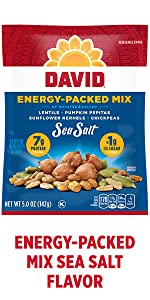 DAVIDs energy boosting plant based snack – Sea Salt Flavor