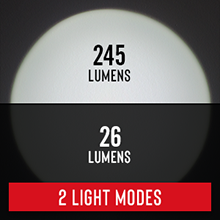 light mode cycling high low 26-245 lumens