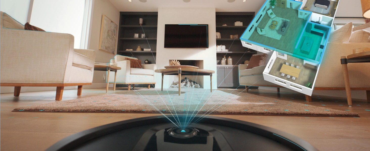 shark robot vacuum mapping out the living room