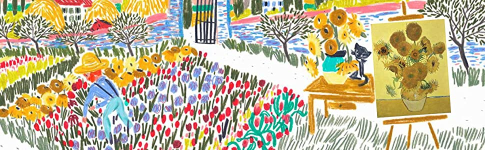 Sometimes he gathered flowers from his walks, and from their beautiful garden paintings