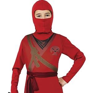 Rubies - Disfraz de ninja rojo con calavera para niño, infantil L (8-10 años)
