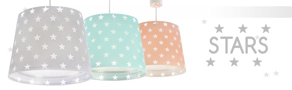 Plastik Dalber Stars H/ängelampe Kinder E27 1 W 50 x 64 x 40 cm Rosa