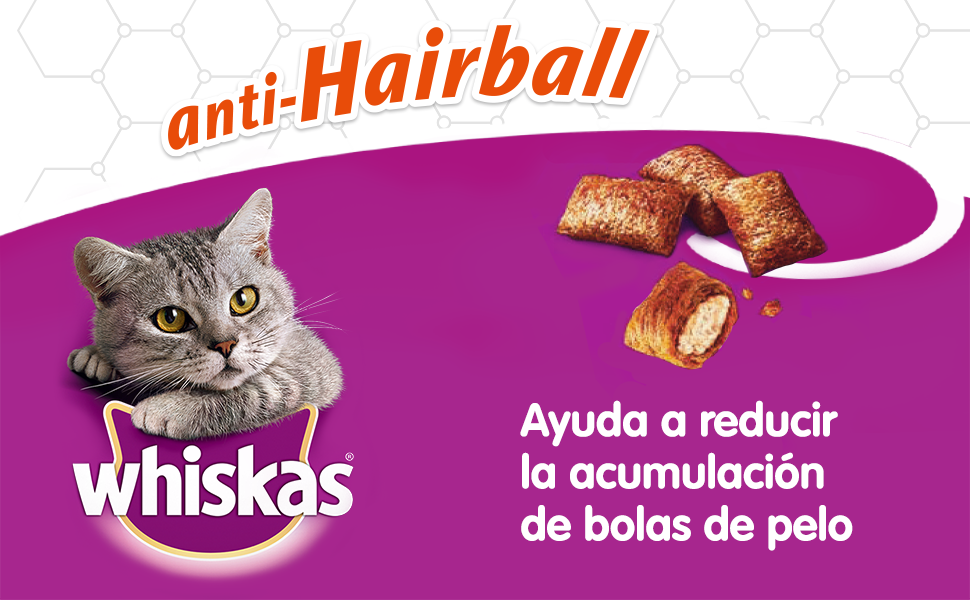 Whiskas Anti-Hairball de uso diario para evitar las Bolas de Pelo en Gatos (Pack de 8 x 60g): Amazon.es: Productos para mascotas
