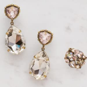 statement earrings pink ring stacked post stud summer peach light crystal sorrelli crystals jewelry
