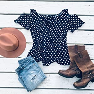 Polka dot, peasant top, womens fashion