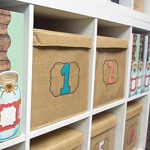 burlap storage in a classroom