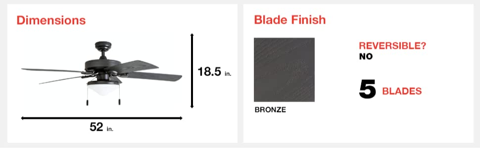 fan dimensions, blade finish, bronze, 5 blades, reversible, yes, 52 in, 18.5