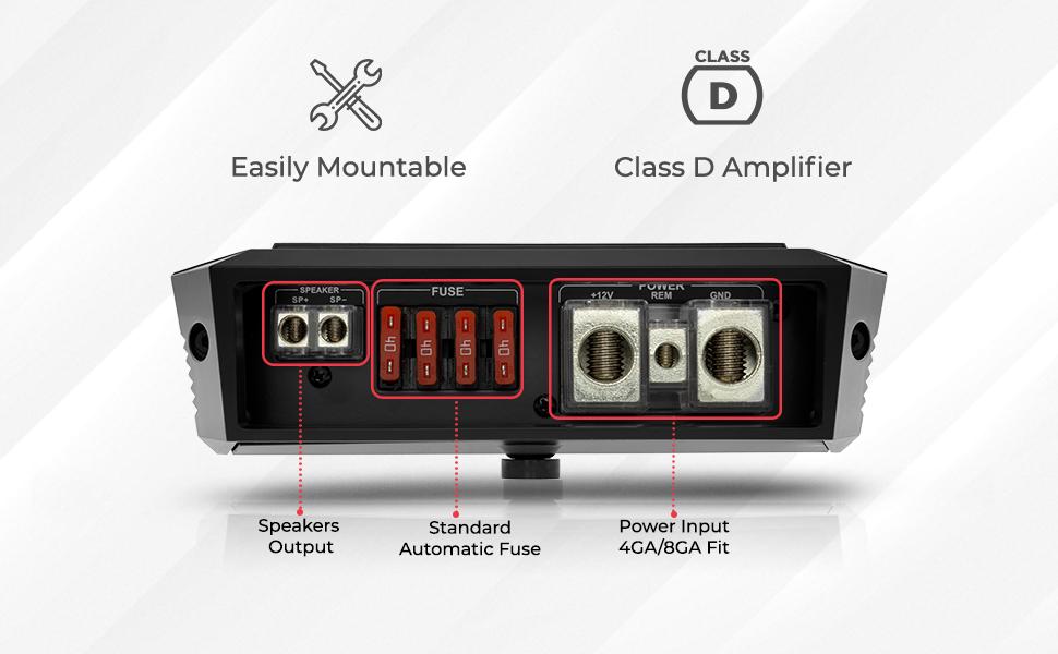 1 channel car audio amplifier compact design high quality Monoblock amplifier