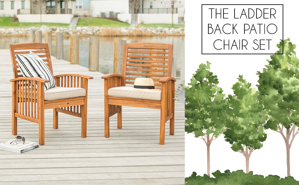 Outdoor Patio Wood Chair Set Cushions All Weather Backyard Conversation Garden Poolside Balcony