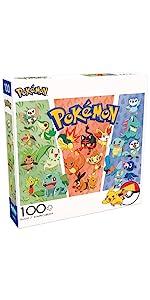 Pokemon - Partners: Grass, Fire, Water - 100 Piece Jigsaw Puzzle