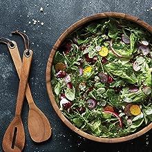 salad station; salad bowls and salad servers; family style salad bowls; acacia wood