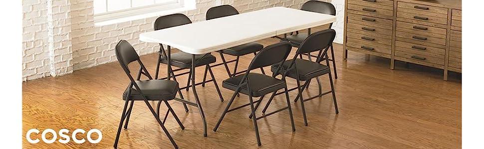 Amazon Com Cosco Vinyl Folding Chair Black 4 Pack Kitchen Dining