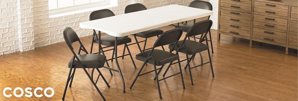 Cosco Vinyl 4 Pack Folding Chair Black Amazon Ca Home