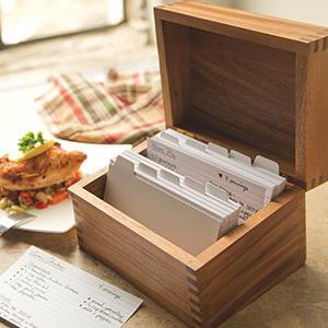amazon com ironwood gourmet 28339 saugatuck recipe box acacia wood