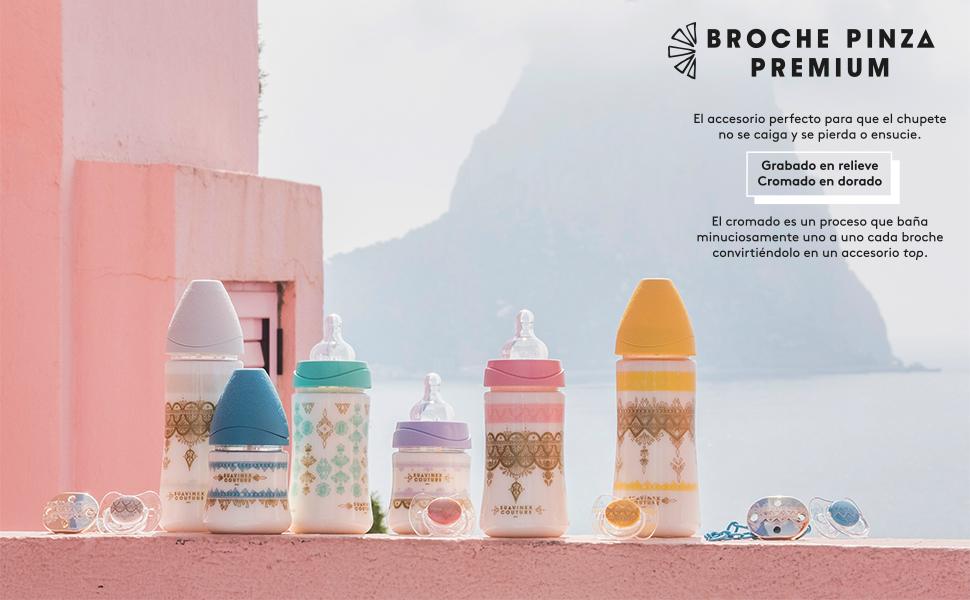 Suavinex - Broche Chupete de Bebé Premium Haute Couture. Broche Pinza Redondo. 0% BPA. Diseño Étnico Con Relieves Color Dorado y Azul