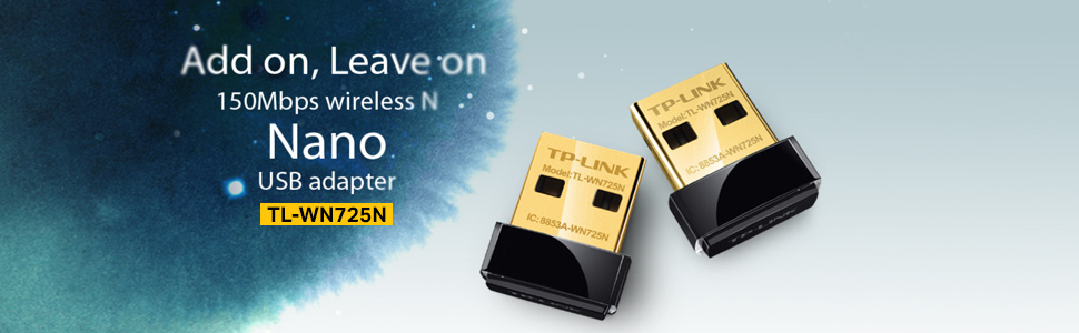 TL-LINK TL-WN725N WIRELESS NANO USB ADAPTER WI-FI WIFI RECEIVER 150 MBPS SPEED COVERAGE RANGE