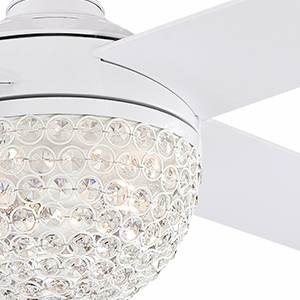 Crystal jewel light kit shade and white fan and blade finish.