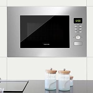 Taurus Fastwave Fused Microondas digital integrable, encastre con Grill, 800W, 900W, 20L, ModoECO, Auto-Clean, Varias funciones y programas, Revestimiento Shiny&Clean, SmartHeat 455x342x26mm, Inox: Amazon.es: Hogar