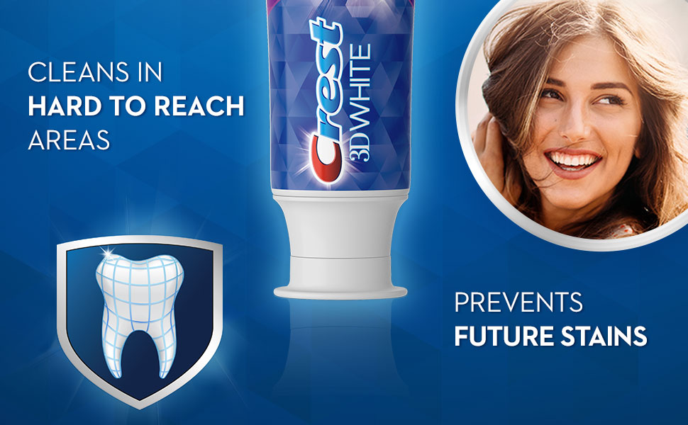 Crest 3D White Radiant Mint toothpaste cleans hard to reach areas & prevents future stains