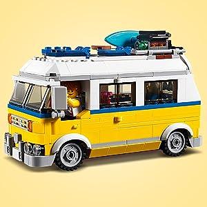 Surfer van giallo, buggy da spiaggia, postazione da bagnino, lego, creator