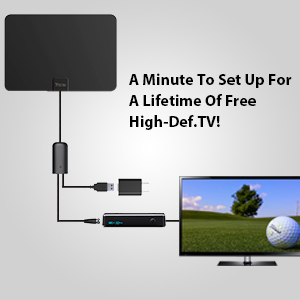 ANTAN DVB-T9033J Indoor Amplified HD TV Antenna Up to 45-65 Mile Range-Support 8K 4K 1080p VHF UHF Freeview Television Local Channels for All Indoor TVs with Longer 16.5ft Coax Cable