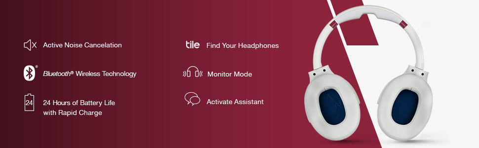 bluetooth blue tooth wireless wire less active noise cancelation tile siri alexa google assistant