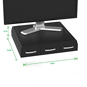 multi-use, organizer, monitor stand, riser, drawers, compartments, adjustable, stylish