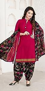 Rajnandini Women's Dark Purple Crepe Printed Unstitched Dress Material