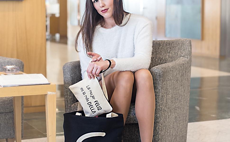 Hello-Bags Bolso Neceser/Cartera de Mano. Algodón 100%. Blanco ...