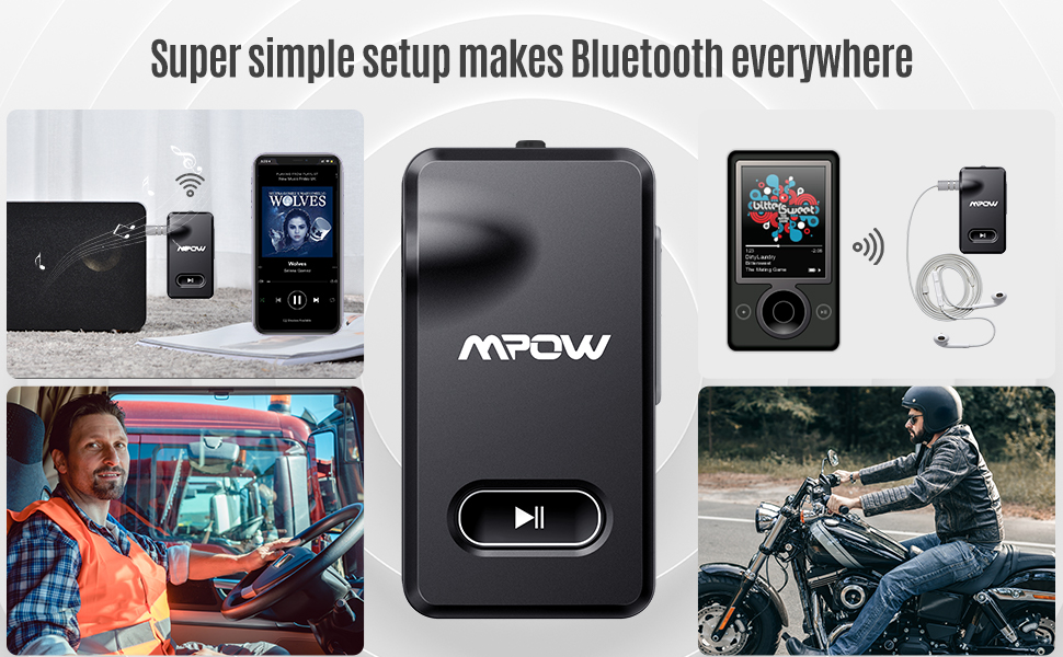 Mpow BH129 Bluetooth Receiver for Car Hands-Free Calls, Better Music Quality with CSR Chip
