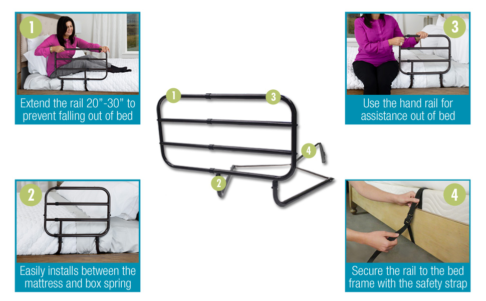 extend bed rail full safety handle support assist grab bar bedrooms safety strap home bedding railng