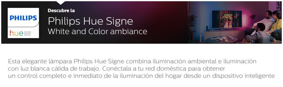 Philips Hue Signe - Lámpara de pie con LED Integrado en aluminio, luz de ambiente blanca y de colores, Iluminación inteligente, compatible con Amazon ...