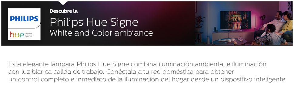Philips Hue Signe - Lámpara de pie con LED Integrado en aluminio, luz de ambiente blanca y de colores, Iluminación inteligente, compatible con Amazon ...