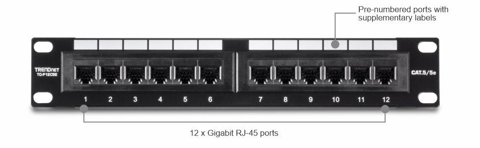12-Port, Cat. 5e, Unshielded, Patch Panel