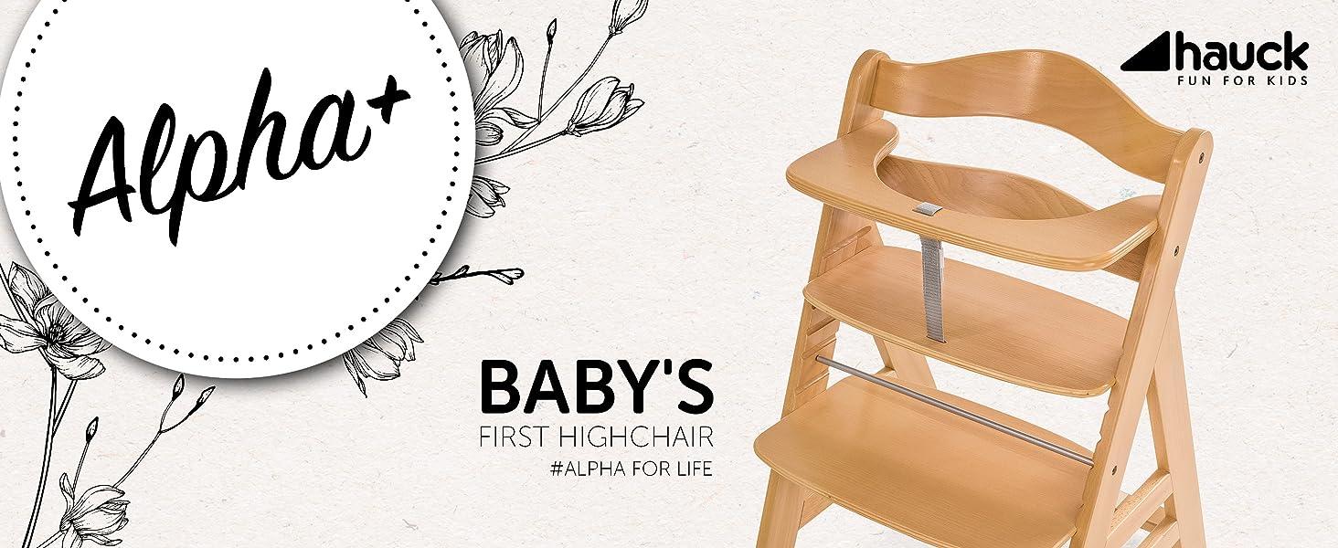 alpha Hochstuhl Holz Holzhochstuhl ab Geburt Babys erster Stuhl hauck