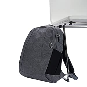 Using hte Turn & Lock hook and carrysafe strap to secure the pack to a chair to prevents theft
