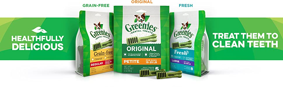 Healthfully Delicious, Treat Them to Clean Teeth, Greenies Dental Chews, Dog Treats, Grain Free