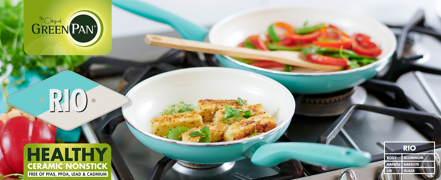 GreenPan, Rio, Healthy Ceramic Nonstick, Pots and Pans, Cookware, colorful, diamond, stay cool