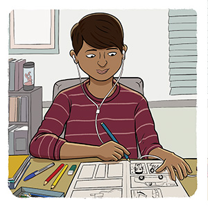 Cartoon image of young teen drawing in a comic book.