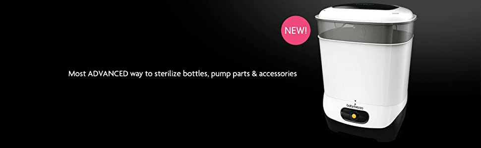 Most Advanced way to sterilizer bottles and bottle accessories like pump parts and pacifiers