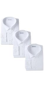 イージーケア 長袖白セミワイドカラーワイシャツ3枚セット