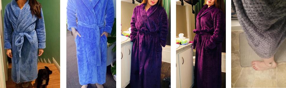 66470116b3 AMONIDA Fleece Bathrobe for Women Long Robes Soft Pajamas Purple