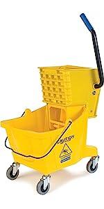mop bucket, compact mop bucket, color-coded mop bucket, plastic mop bucket