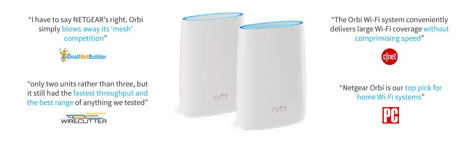 NETGEAR Orbi Home Whole Home Mesh WiFi System - Tri-band WiFi Router  Up to  2,500sqft of WiFi Coverage, AC3000 (RBR50)