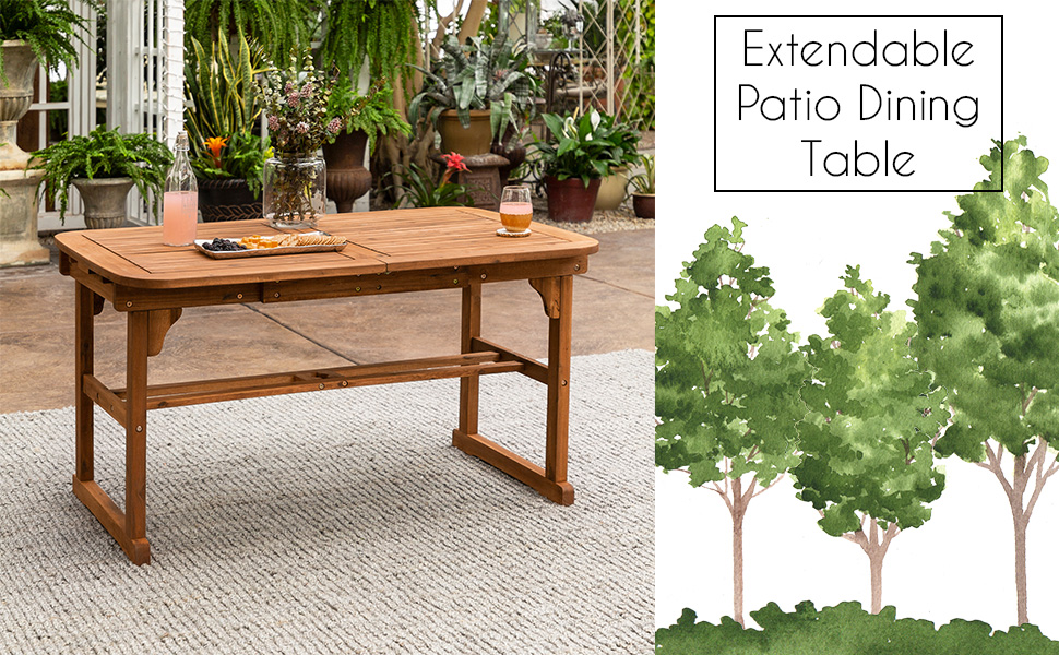 Outdoor Patio Wood Rectangle Dining Table Leaf All Weather Backyard Conversation Garden Poolside