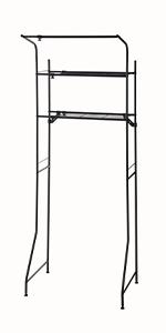 ランドリーラック ランドリー収納 2段 2段 ハンガー 洗剤 置き場 ブラック