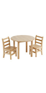 30in Round Hardwood Table with 22in Legs and Two 12in Chairs